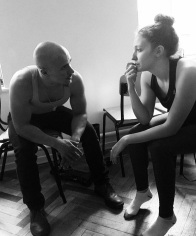 My husband Tyler and I are deep in conversation, probably about where we are going to go for lunch. Taken in the MXAT School-Studio, by Emma Harvey.
